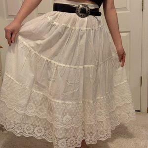 Vintage white linen maxi skirt